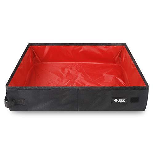 AKDSteel - Lettiera portatile impermeabile pieghevole in tessuto Oxford per gatti da viaggio, per animali domestici, grande, 50 x 40 x 11 cm, colore: rosso