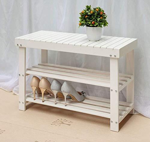 XUSHEN-HU Zapatero de madera natural Simple Zapatero Almacenamiento Rack Almacenamiento Estante de Almacenamiento Multi-Capa de Reemplazo de Zapatero Multi-Función Rack de Almacenamiento (Blanco)