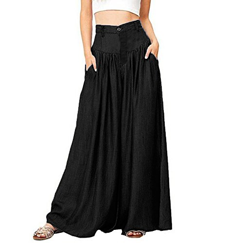 Bokeley Women Long Pants, Soft Wide Legs Pantalon Casual High Waist Trousers Plus Size (Black, 2XL)