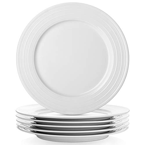 LIFVER 6-Piece White Dinner Plates Set, 10 Inches Porcelain Plates Set of 6,White