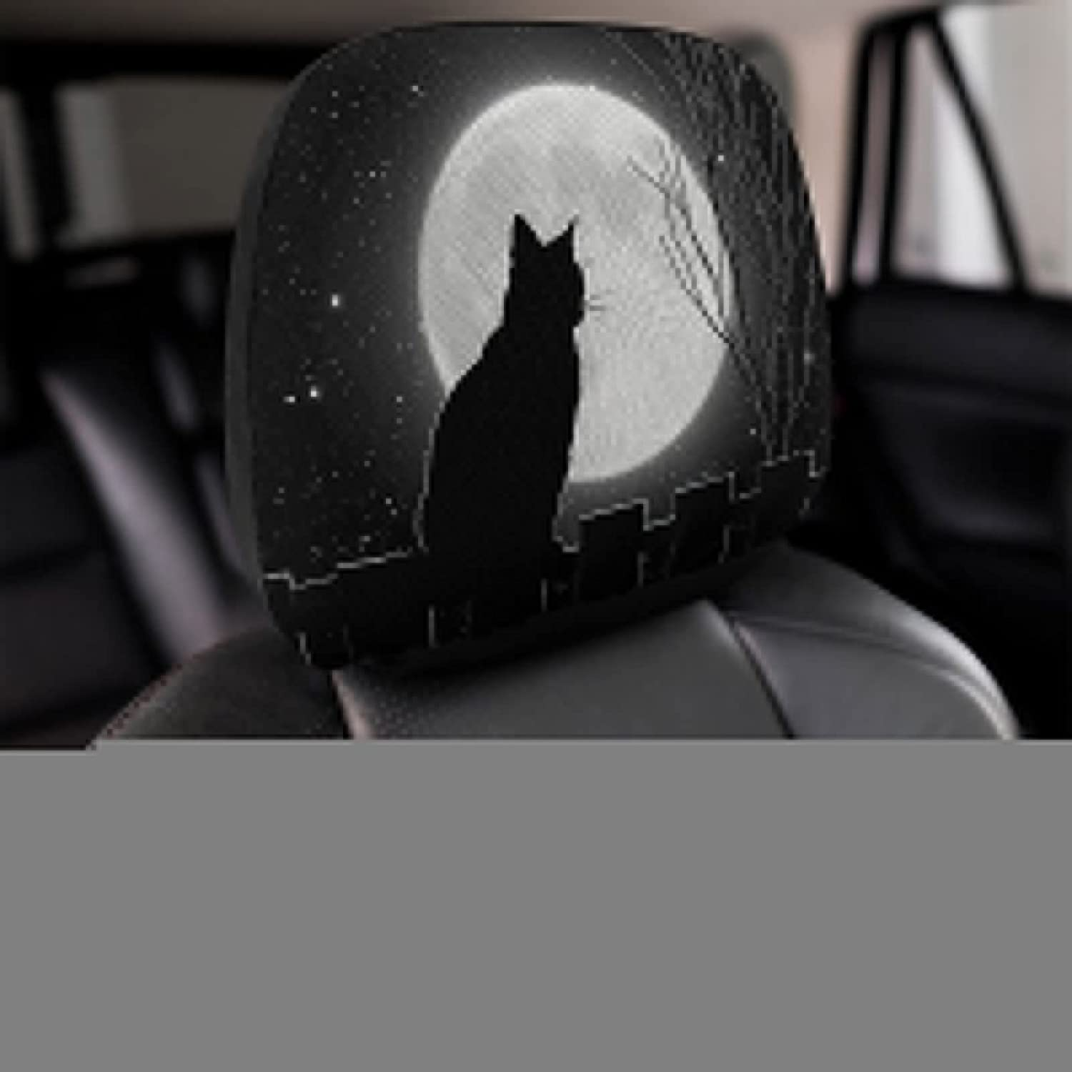 QUZtww 2 Pcs It New Shipping Free Shipping is very popular Car Seat Headrest Cover Cat Kitty Full C Moon Night
