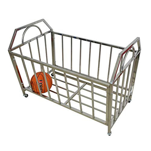 Pelota Carro Laminado de Metal Bola de los Deportes Equipo de Almacenamiento Hopper Cesta Gran almacenaje for Varias Bolas Carros portabalones (Color : Silver, Size : 100x60x73cm)
