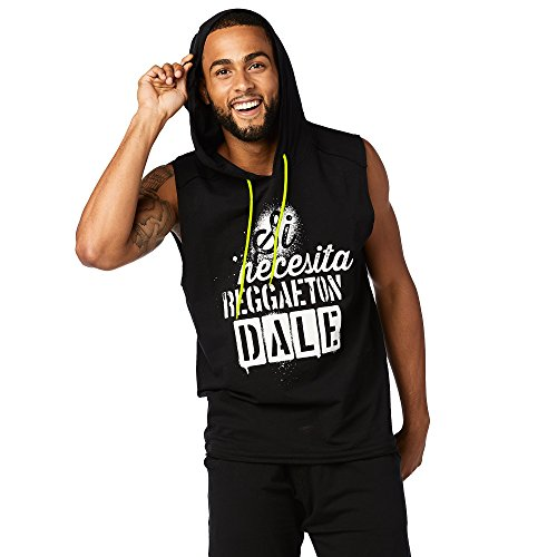 Zumba Fitness Hombre SI Necesita Sleeveless Hoodie Hombres Tops, Todo el año, Hombre, Color Bold Black, tamaño Small