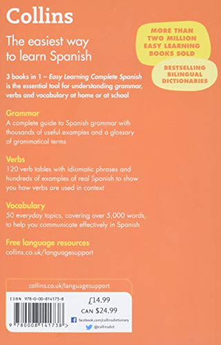Easy Learning Spanish Complete Grammar, Verbs and Vocabulary (3 books in 1): Trusted support for learning (Collins Easy Learning)
