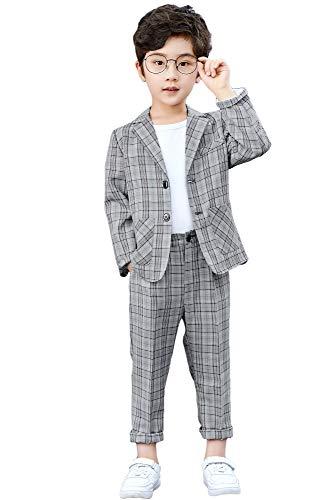 LOLANTA 2-teiliges Jungen festlichen Anzug Set Grau Plaid Kinder Blazer & Hosen Outfit, Freizeitkleidung oder Hochzeitskleid, Hellgrau, 170