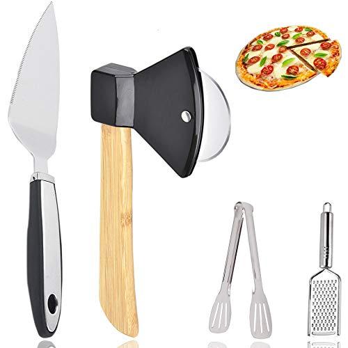 Set di utensili per pizza, tagliapizza, tagliapizza in acciaio inox, con manico in bambù e protezione della lama, paletta angolare, grattugia per formaggio, pinze da cucina, 4 pezzi