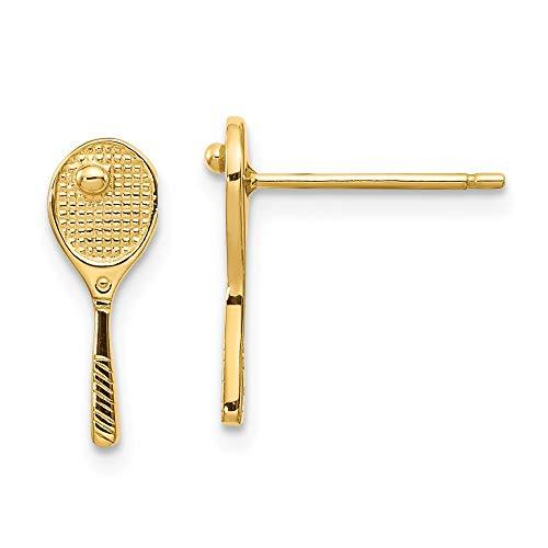 14 Mini Tennis Schläger, Ball Ohrringe Post-Maße: 13 x 5 mm JewelryWeb