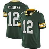 WLLIT NFL Football Jersey Packers # 12 Rodgers 52 21 87 Nelson Camiseta de fútbol de Manga Corta Para Hombre, Camiseta Deportiva de Manga Corta-C10-XXL