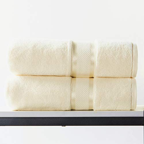 100% Cotton Thickened Bath Towel 76cm x 142cm, Highly Absorbent, Super Soft Hotel Quality Towel (2 Pieces, Cream)