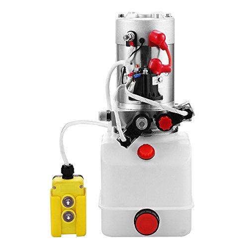 ZauberLu 12V/DC Hydraulikpumpe Doppeltwirkend Kipperpumpe Hydraulikaggregat 4L Kunststofftank Antriebseinrichtung für Auto(4L Doppeltwirkend Kunststoff)