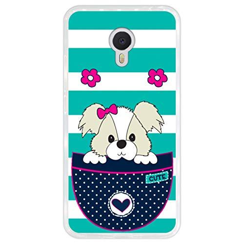 Hapdey Funda Transparente para [ Meizu m3 Note ] diseño [ Adorable Perro de Dibujos Animados en un Bolsillo ] Carcasa Silicona Flexible TPU