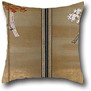 Oil Painting Tosa Mitsuoki - Flowering Cherry And Autumn Maples With Poem Slips Throw Pillow Covers ,best For Son,chair,home Office,home Theater,club,divan 18 X 18 Inches / 45 By 45 Cm(two Sides)