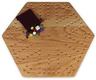 AmishToyBox.com Solid Oak Double-Sided Aggravation (Wahoo) Board Game Set, 16