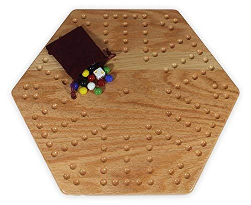 """Solid Oak Wooden Double-Sided Aggravation (Wahoo) Marble Game Board Set, 16"""" Wide, Unpainted"""