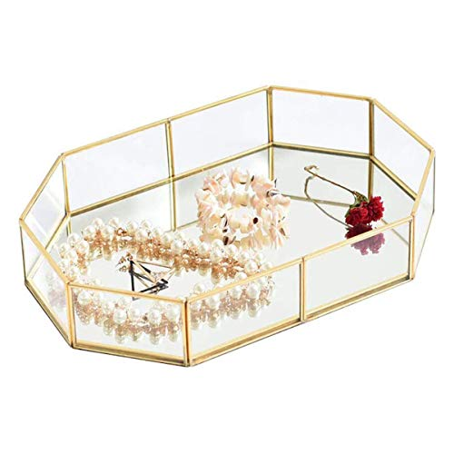 Pahdecor Vintage Makeup Jewelry Organizer Mirrored Glass Tray Handmade Home Decorative Metal Vanity Tray,Gold Leaf Finish(12.4'x8.5'x1.9')
