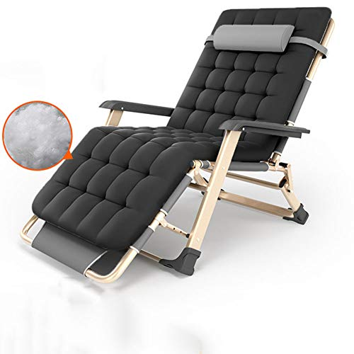 LILIJIA Summer Portable Lazy Beach Home Recliner Chair,Home Office Individual Siesta Chair,Suitable for Office Camping Fishing Hospital Escort Etc,can Bear 300kg,Black