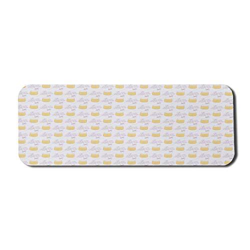 Bee Computer Mouse Pad, Hummeln und Honiggläser mit Lavendelsträußen, rechteckiges rutschfestes Gummi-Mauspad Großer blasser lila Senf