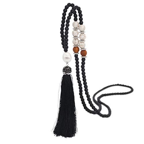 COMIOR Halskette Damen Holzperle Lange Halsketten Böhmische Quaste Anhänger Pullover Kette Handgefertigte Holzperlenkette Leinenkleid Vintage Zubehör