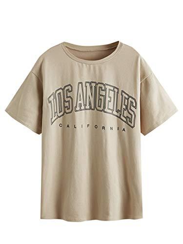SheIn Women's Novelty Letter Graphic Print Drop Shoulder Longline Tee T-Shirts Khaki Medium