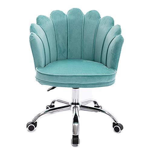 Sedia da Scrivania Girevole, sedia operativa da computer direzionale regolabile con ruote, poltrona ergonomica girevole a 360 ° con schienale medio, poltrona moderna da trucco in velluto rosa, casa,