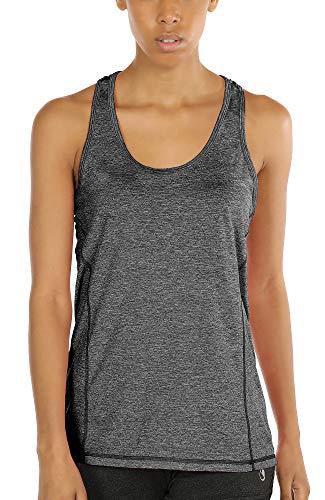 icyzone Damen Sporttop Yoga Tank Top Ringerrücken Oberteil Laufen Fitness Funktions Shirt (Charcoal, S)