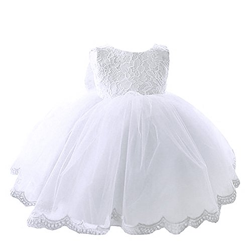 YiZYiF Kleinkinder Baby Mädchen Kleid Taufkleid Blumenspitze Prinzessin Kleid Hochzeit Festlich Partykleid Tüll Festzug (74, Weiß)
