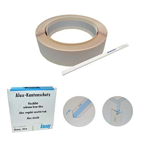 KNAUF® Alux-Kantenschutz - 30m Rolle - flexibler Kantenschutz, Eckschutz für den Trockenbau - im Set inkl. 1 St. DEWEPRO® Zimmermannsbleistift