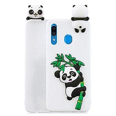 HopMore Unicornio Panda Funda para Samsung Galaxy A40 2019 Silicona Dibujo 3D Carcasa Divertidas Kawaii Case Ultrafina Antigolpes Caso Protección Cover Gracioso para Chicas Mujeres - Panda Blanca