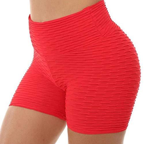Women's High Waist Stretch Athletic Workout Shorts Butt Lift Pants Yoga Shaping Fitness Sport Shorts kaiCran (XL, Red)