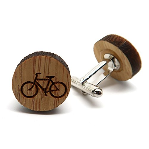 BOBIJOO Jewelry - Coppia di gemelli da polso in Legno, Natura, Bici da Ciclocross Bobo Ecolo-Accessori Uomo