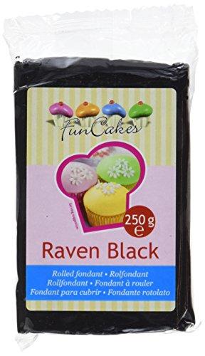 FunCakes Fondant - Raven Black 1er Pack (1 x 250 g) schwarz