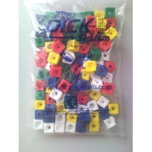 100 Steckwürfel 5-farbig (rot, gelb, grün, blau, weiß), 1,7cm, allseitig steckbar
