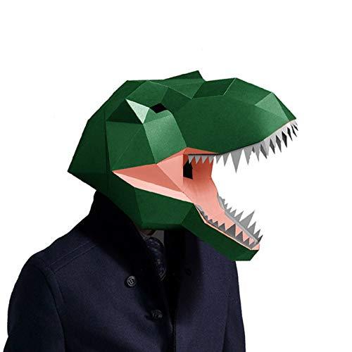 POOO Mscara de Dinosaurio dominante, Fiesta de Disfraces de Terror, mscara de Dinosaurio de Papel Que no Corta