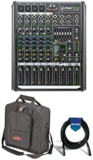 Mackie ProFX8v2 8-Channel FX Mixer with USB, 4 Vita Mic Preamps, 7-Band Graphic EQ - Bundle With SKB Universal Equipment/Mixer Bag, Black, 20' Heavy Duty 7mm Rubber XLR Microphone Cable