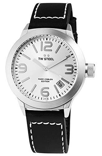 TW Steel dameshorloge zilver zwart analoog datum roestvrij staal echt leder kwarts polshorloge