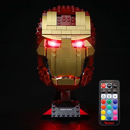 BRIKSMAX Kit di Illuminazione a LED per Lego Marvel Casco di Iron Man - Compatibile Lego 76165 Modello Blocchi predefiniti- Non includere Il Set Lego(Versione Telecomando)