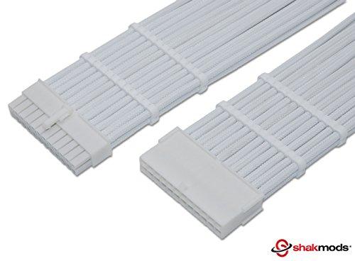 shakmods 24pin ATX 30cm placa base Full Color blanco heatshrinkless manga Cable de extensión con 2peines de cable blanco blanco y conectores