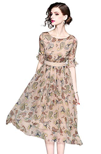LAI MENG FIVE CATS Women's Summer Bell Sleeve Floral Print Casual Boho A-line and Flare Midi Dress (10, Half Sleeve)