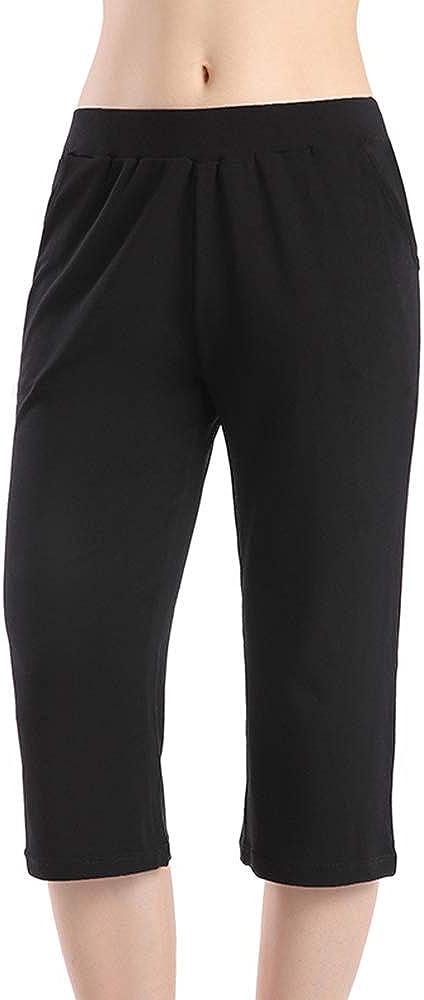 QingWan Womens Shorts with Pockets Elastic Waist Spandex Athletic Short Capri Pants Yoga