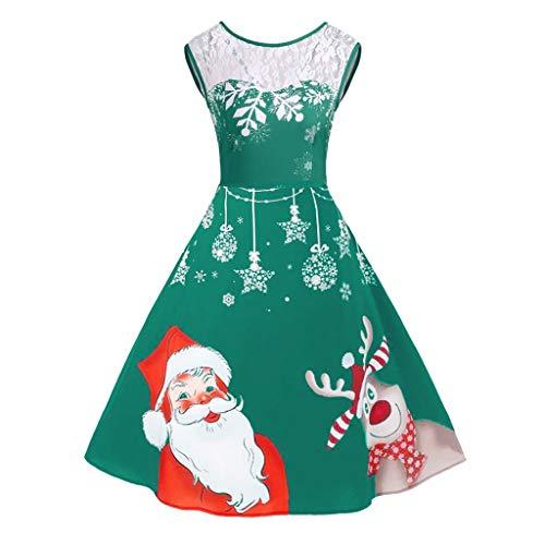 Yukong Robe Vintage années 50 Hepburn Swing Costume de fête Père Noël Imprimé Grande Taille 5XL, Polyester, Vert, 12 UK