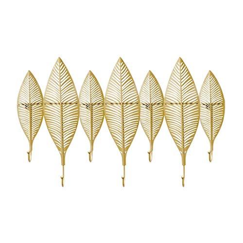 Ganchos de gancho de pared ganchos de pared montados en la pared para colgar metal decoración para el hogar perchas de pared hueco hoja escultura decorativa gancho ( Color : Gold , Size : 65*41.5cm )