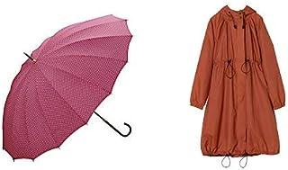 【セット買い】ワールドパーティー(Wpc.) 雨傘 長傘  ピンク  55cm  16本骨 レディース 16本骨ドット 7630-06 PK+レインコート ポンチョ レインウェア オレンジ FREE レディース 収納袋付き R-1101 OR