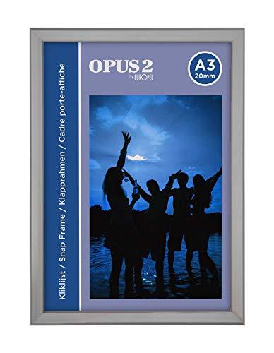 OPUS 2 Klapprahmen A3 mit 20 mm Aluminium-Profil - aufklappbarer Plakatrahmen mit Gehrungsecke - Schnapprahmen für u.a. Poster, Zertifikate, Fotos & Werbemittel - Silber