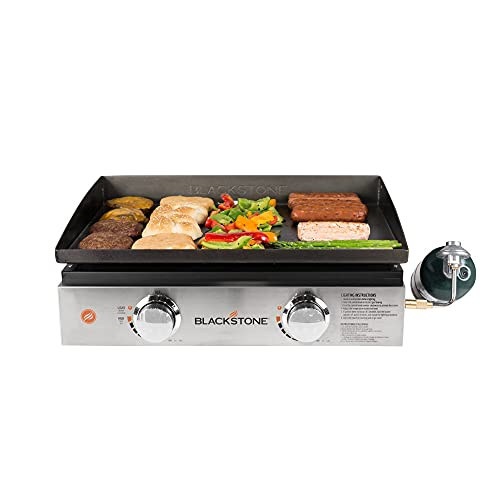 """Blackstone 22"""" Tabletop Grill without Hood- Propane Fuelled – 22 inch Portable Gas Griddle with 2 Burners - Rear Grease Trap for Kitchen, Outdoor, Camping, Tailgating or Picnicking (1666)"""