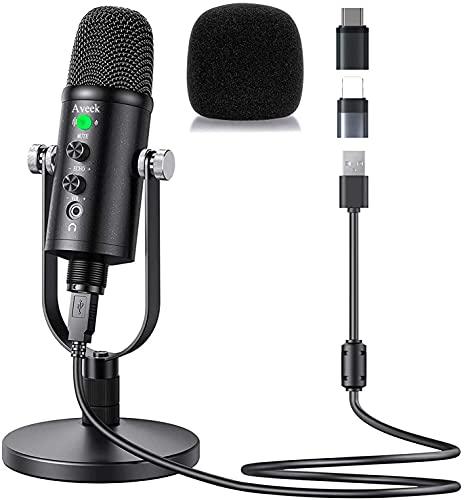 Aveek PC Microfono USB Condensatore per Computer Gioco Mic Plug & Play con Cancellazione del Rumore e Riverbero per Registrazione Vocale, Podcasting, Streaming, Video di Youtube