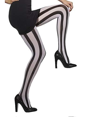 Koorts vrouwen ondoorzichtige verticale gestreepte panty's, zwart en wit, een maat,5020570245491