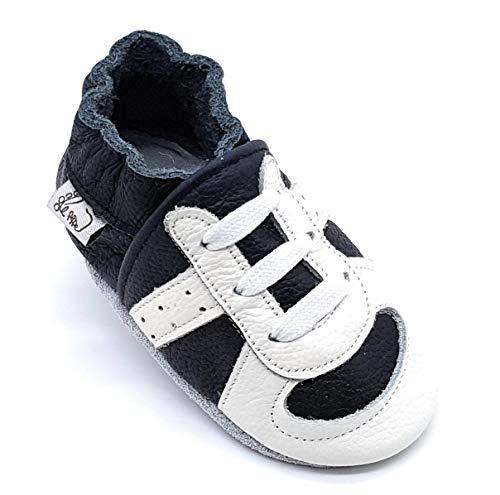 LEPEPPE - Scarpine in Pelle Prima Infanzia - Pantofole Babucce - Neonato - Nido - Materne Danza - Primi Passi Fino al 32/33!!! Runner Sneakers Scarpa da Ginnastica Nera (3XL (17,5 cm di Suola))