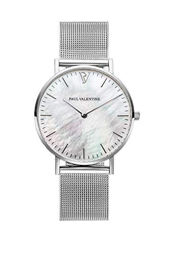 PAUL VALENTINE ® Damenuhr mit Mesh Armband - 32, 36 oder 38mm - Edle Damen Uhr mit japanischem Quarzwerk - Spritzwassergeschützt - Armbanduhr für Damen (Silver Seashell Mesh 36 mm)