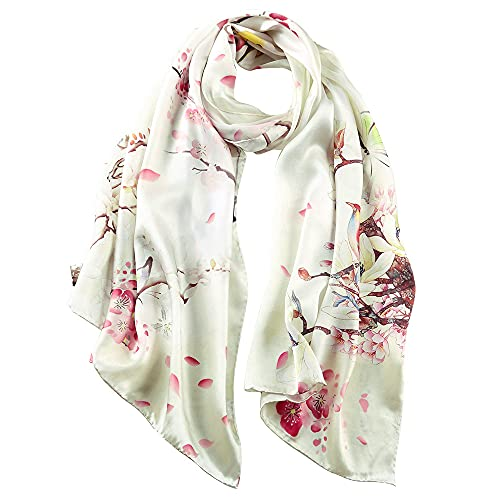 STORY OF SHANGHAI Seidenschal Damen 100% Seide, 20+ Bunte Luxuriöse Schals, Warm & Weich, als Stola Seidentuch Halstuch Pashmina - 53 * 170 cm Vogel