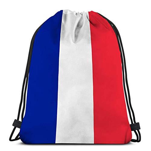 XCNGG Bolsa clásica con cordón Bolsa de almacenamiento deportiva para hombre y mujer bandera de francia textura de cerca bandera de francia
